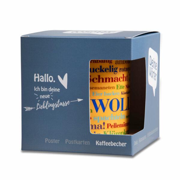 Der Kaffeebecher Sauerländer Wörter verpackt.
