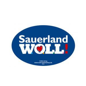 """Der """"kleine"""" Aufkleber mit dem Motiv Sauerland WOLL."""