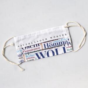 Mund-Nase-Behelfsmaske mit den Sauerländer Wörtern