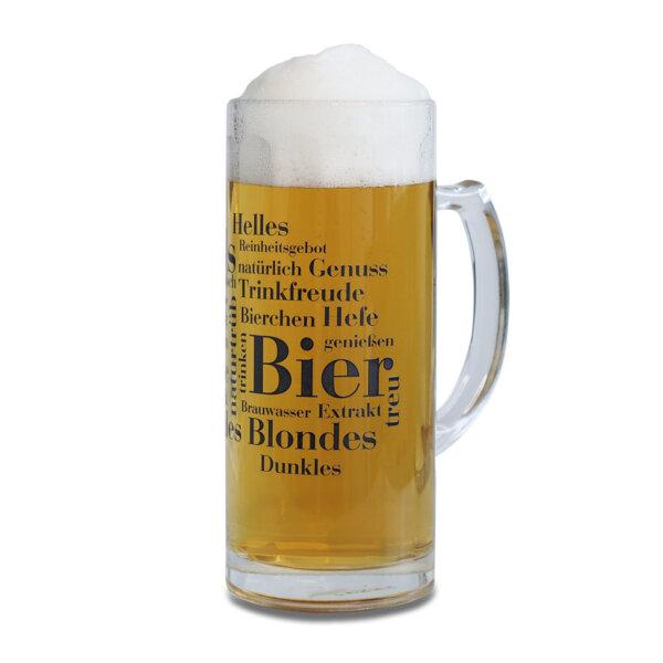 WOLL Bierkrug mit den Bier Wörtern bedruckt.