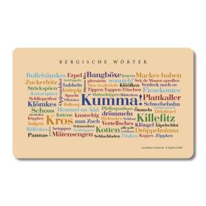 Die schönsten Wörter des Bergischen auf einem liebevoll gestalteten Brettchenverein.