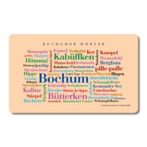 Frühstücksbrettchen Bochum Wörter.