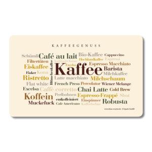 Frühstücksbrettchen Kaffee Wörter.