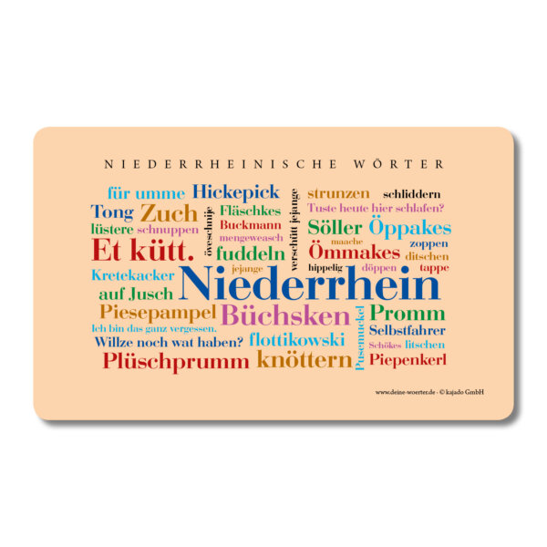 Frühstücksbrettchen Niederrhein Wörter.
