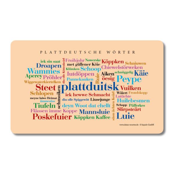 Frühstücksbrettchen Plattdeutsche Wörter.