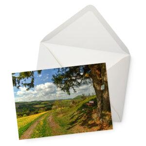 Grußkarte mit Ausblick auf das Sauerland mit Umschlag.