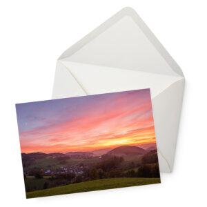 Grußkarte mit Sauerländer Sonnenuntergang mit Briefumschlag.