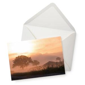 Grußkarte Sommermorgen im Sauerland mit Umschlag.