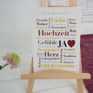Postkarte zur Hochzeit - schöne Wörter