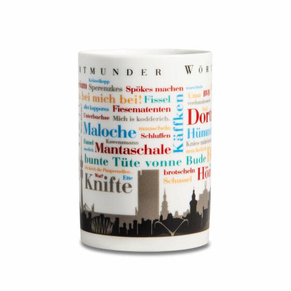 Kaffeebecher Dortmunder Wörter frontale Ansicht.