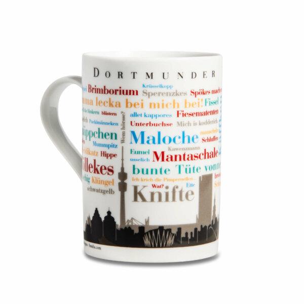 Der Kaffeebecher mit den Dortmunder Wörtern Skyline.