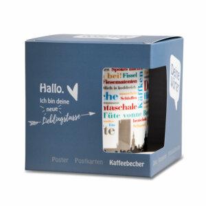 Der Kaffeebecher mit den Dortmunder Wörtern liebevoll verpackt.