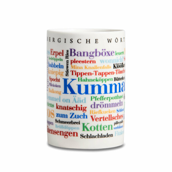 Kaffeebecher Tasse Bergische Wörter  Frontansicht