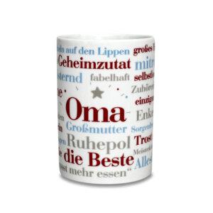 Tasse mit den Oma Wörtern zum Verschenken.