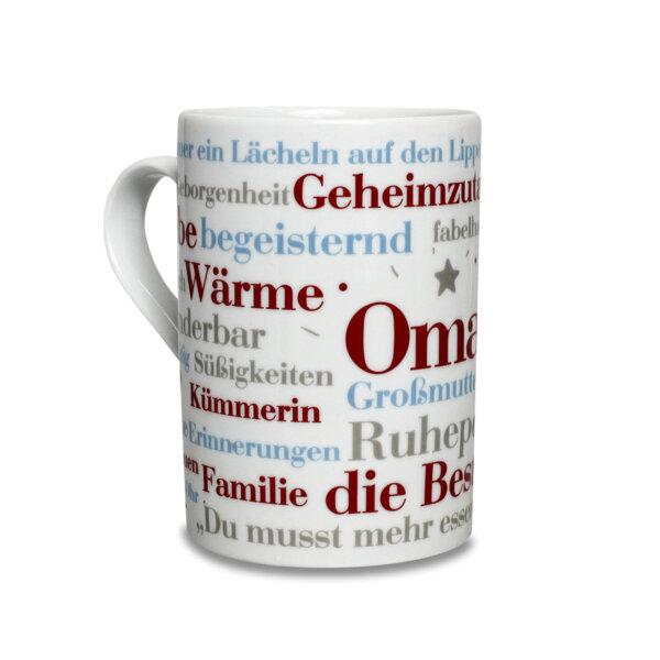 Kaffeebecher für die Oma mit schönen Wörtern.