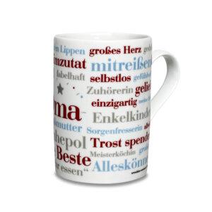 Kaffeebecher mit den schönsten Oma Wörtern.