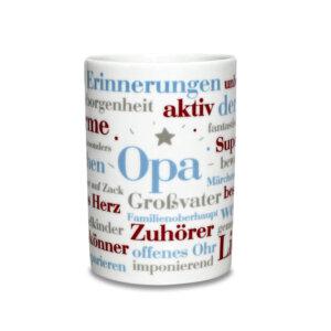 Kaffeebecher mit den schönen Opa Wörtern als Geschenkidee.