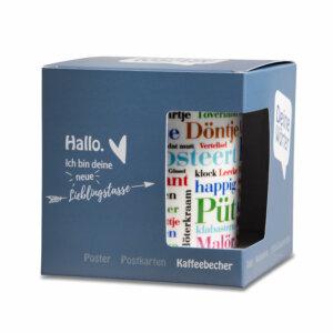 Kaffeebecher Ostfriesische Wörter mit Verpackung
