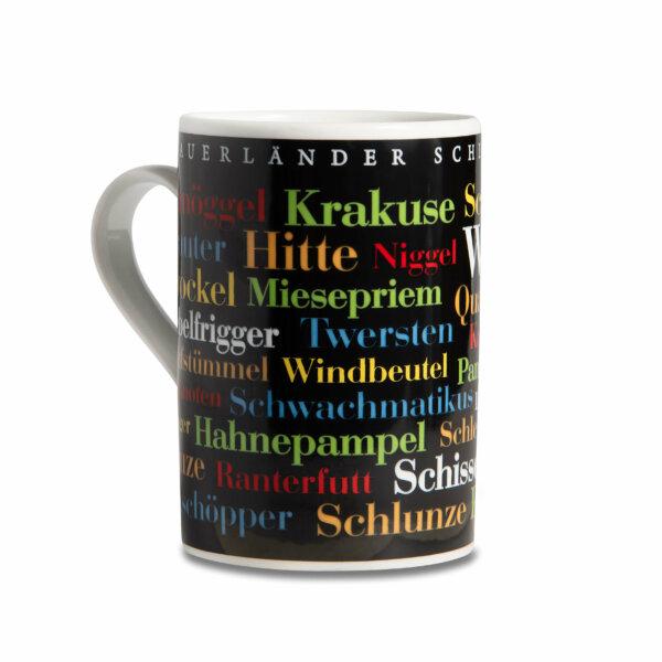 Kaffeebecher - Tasse Sauerländer Schimpfwörter - Henkel links