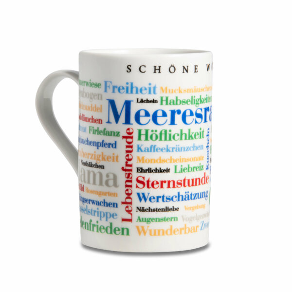 Kaffeebecher Tasse Schöne Wörter - Henkel links