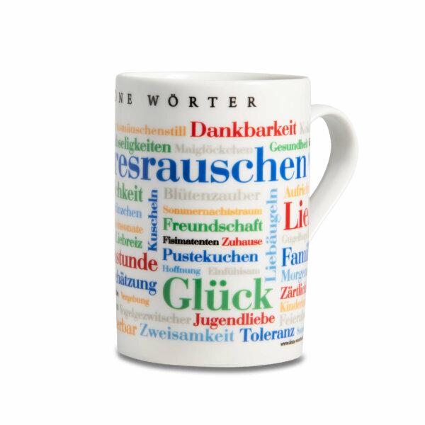 Kaffeebecher Tasse Schöne Wörter - Henkel rechts