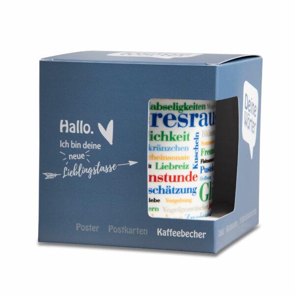 Kaffeebecher Tasse Schöne Wörter mit Verpackung