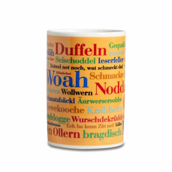 Kaffeebecher Tasse Siegerländer Wörter Frontansicht