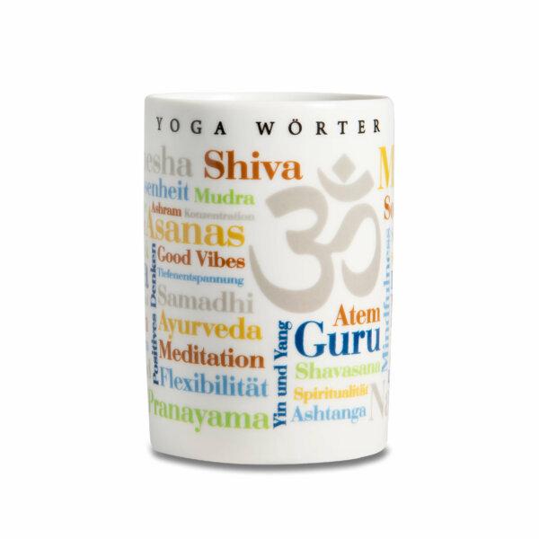 Kaffeebecher Tasse Yoga Wörter - Frontansicht