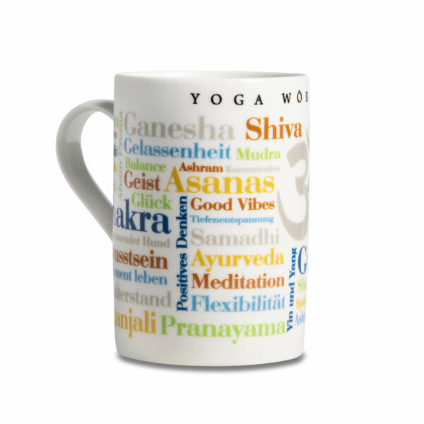 Kaffeebecher Tasse Yoga Wörter - Henkel links