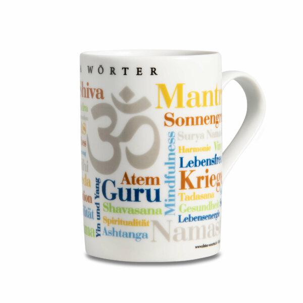 Kaffeebecher Tasse Yoga Wörter - Henkel rechts