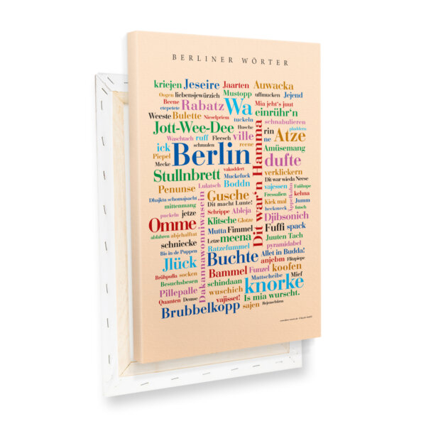 Leinwand Berlin Wörter Keilrahmen Profilansicht