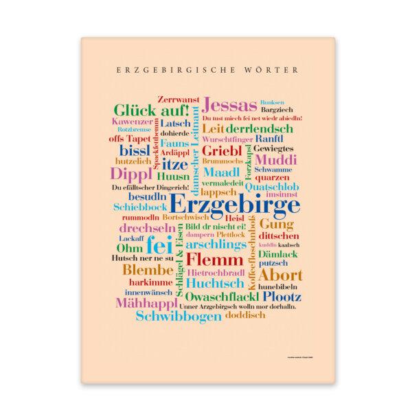 Erzgebirger Wörter gedruckt auf hochwertigem Leinen.