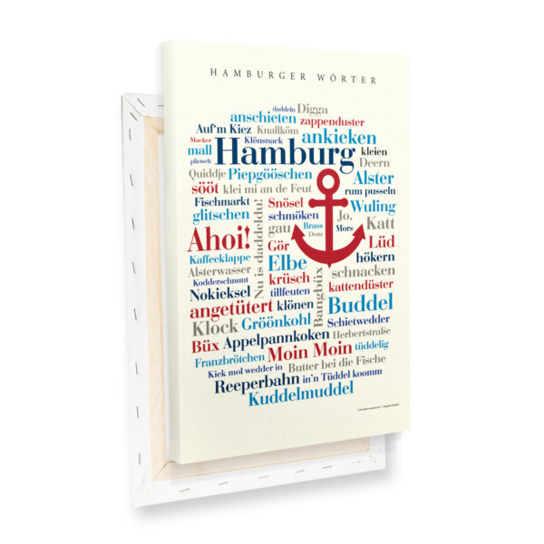 Leinwand Hamburger Wörter Keilrahmen Profilansicht