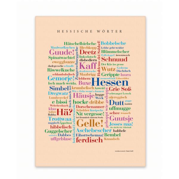 Leinwand Hessen Wörter mit Keilrahmen Frontansicht