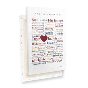 Leinwand Hochzeit Wörter mit Keilrahmen Profilansicht