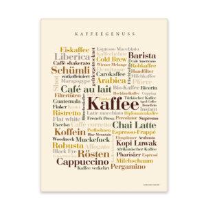 Leinwand Kaffee Wörter mit Keilrahmen Frontansicht
