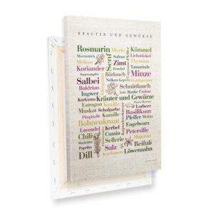 Leinwand Kräuter Wörter mit Keilrahmen Profilansicht