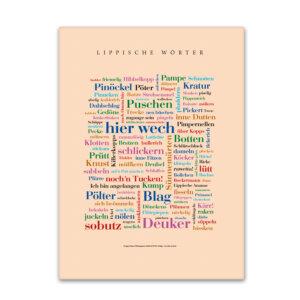 Die schönsten Wörter des Lipperlands auf einer Leinwand vereint.