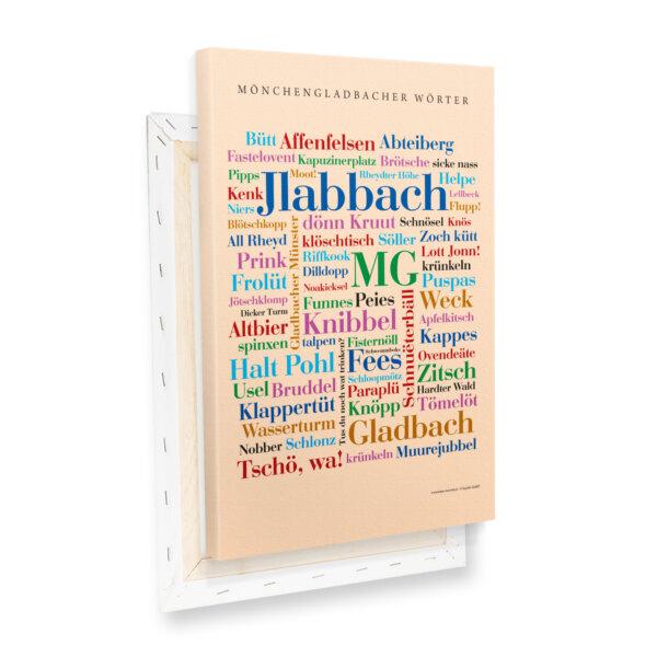 Leinwand Mönchengladbach Wörter mit Keilrahmen Profilansicht