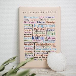 Die Leinwand mit ostfriesischen Wörtern, Keilrahmen.