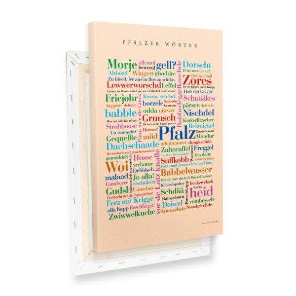 Leinwand Pfalz Wörter mit Keilrahmen Profilansicht