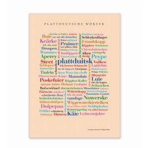 Leinwand Plattdeutsche Wörter mit Keilrahmen Frontansicht
