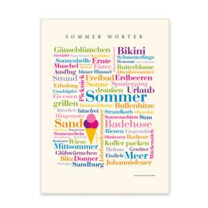 Leinwand Sommer Wörter Front.