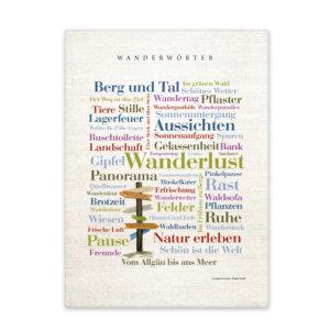 Leinwand mit Wörtern rund um das Wandern Frontansicht