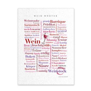 Leinwand mit Wein Wörtern Frontal.