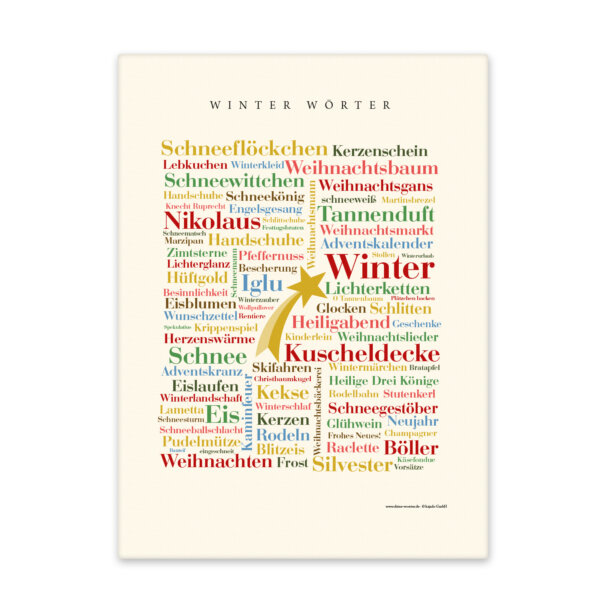 Leinwand Winter Wörter Keilrahmen Frontansicht