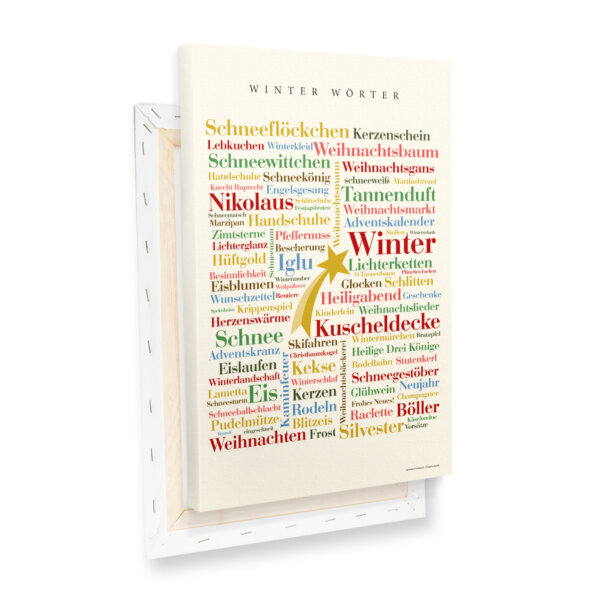 Leinwand Winter Wörter Keilrahmen Profilansicht