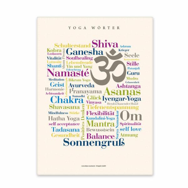 Leinwand Yoga Wörter Frontal.