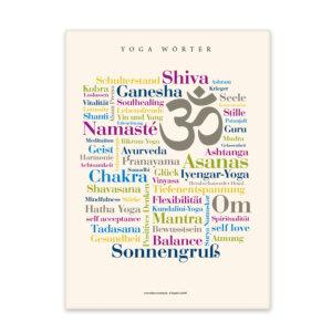 Leinwand Yoga Wörter Frontalansicht