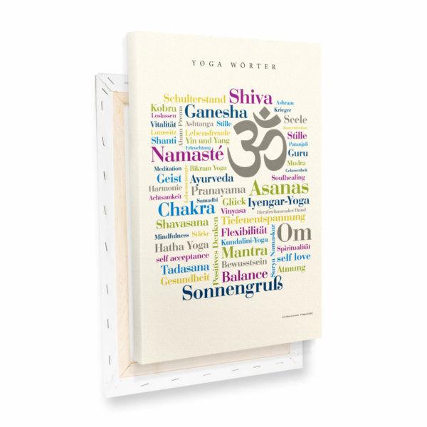 Leinwand Yoga Wörter Profilansicht